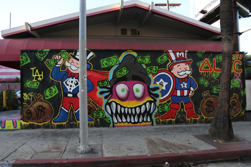 Chris Brown's graffiti art work on the famed Norms 76 gas station on the sunset strip